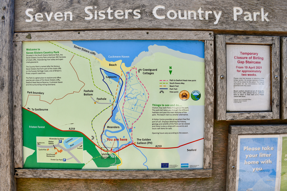 Le plan du Seven Sisters Country Park. Photo by French Moments